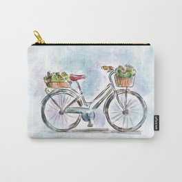 Spring Bicycle Watercolor with Flowers Carry-All Pouch