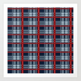 Red Line White And Blue Lumberjack Flannel Pattern Art Print