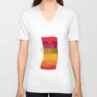 paisley V-neck T-shirts featuring paisley bandana by Ariadne
