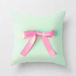 hot pink ribbon throw pillow