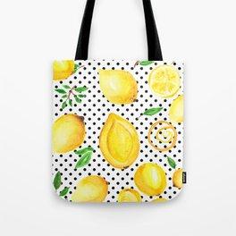 Lemon polka dots Tote Bag