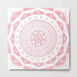 Dusky Pink Frosted Flower Mandala Metal Print
