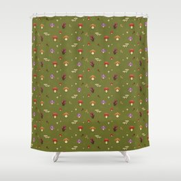 Pixel Mushrooms on Green Shower Curtain
