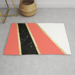 Living Coral, White, Black Marble and Gold Stripes Glam #1 #minimal #decor #art #society6 Rug
