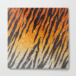 Tiger Shout Glitter Stripe Metal Print