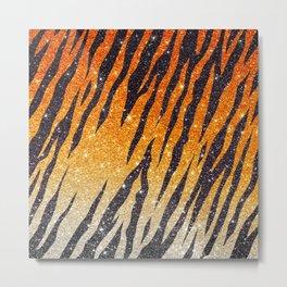 Tiger Shout Glitter Stripe Metal Print