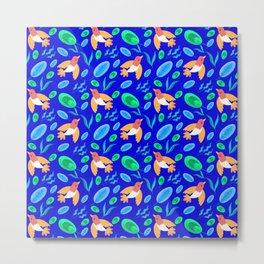 Pretty beautiful cute little birds, green blue delicate leaves, plants navy seamless pattern Metal Print