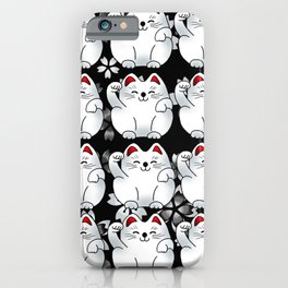 Lucky cat, sitting white maneki pattern iPhone Case