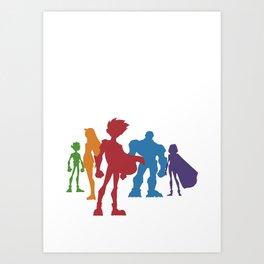 [ Teen Titans ] Robin, Starfire, Raven, Beast Boy and Cyborg Art Print