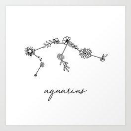 Aquarius Floral Zodiac Constellation Art Print