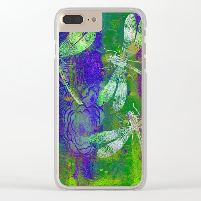 A Dragonflies QD Clear iPhone Case