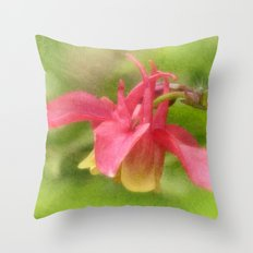 Pink Aquilegia Throw Pillow