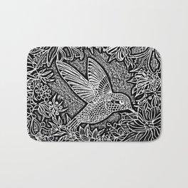 Hummingbird In Flowery Wreath Linocut Bath Mat