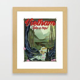Vietnam Jungle Cave cartoon travel poster Framed Art Print