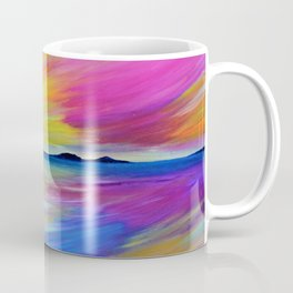 PURPLE SEASCAPE - Abstract Sky Seascape Oil Painting Coffee Mug