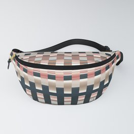 silver pink blue puce striped geometric pattern Fanny Pack