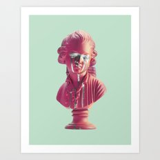 Bust Of A Weeping Man (In Pink and Mint) Art Print
