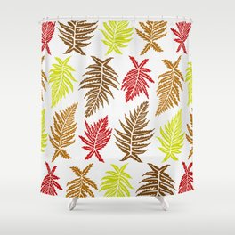 Inked Ferns – Autumn Palette Shower Curtain