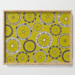bike wheels chartreuse Serving Tray