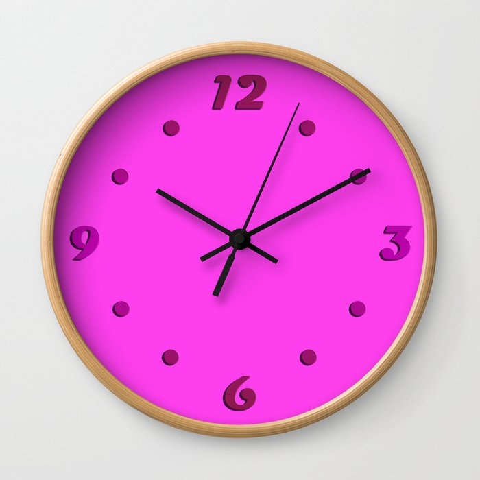 Pink neon color bright summer Wall Clock