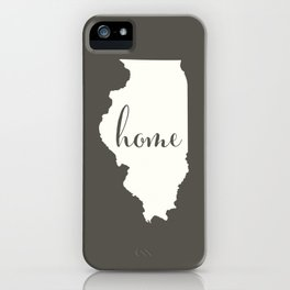 Illinois is Home - White on Charcoal iPhone Case