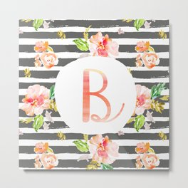 B botanical monogram. Letter initial with colorful flowers and gray stripes Metal Print