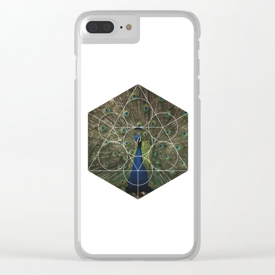 Beautiful Peacock - Geometric Photography Clear iPhone Case