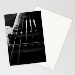 Guitar Cords Low Key Black & White Abstract Still Life Guitar Photograph Stationery Cards