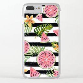 Watermelon black stripes Clear iPhone Case