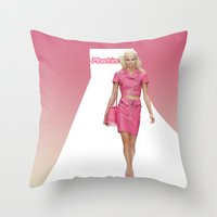 moschino Throw Pillows featuring MOSCHINO RUNWAY BARBIE GIRL by RickyRicardo787