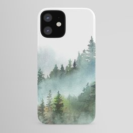 Watercolor Pine Forest Mountains in the Fog iPhone Case