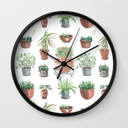 pots hand drawn pattern Wall Clock