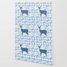 Deer in the flower pattern Wallpaper