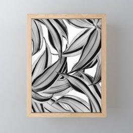 Dracaena Tropical Leaves Pattern Black & White #2 #tropical #decor #art #society6 Framed Mini Art Print