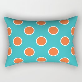 Geometric Orbital Candy Dot Circles - Citrus Orange & Peppermint Blue Rectangular Pillow