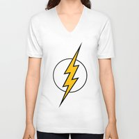 the flash V-neck T-shirts featuring Flash by Bastien13