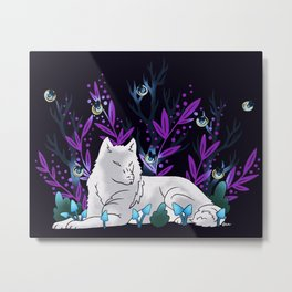 White Wolf with Glowing Fireflies Metal Print