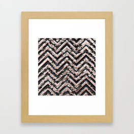 Black and White Marble and Rose Gold Chevron Zigzag Framed Art Print