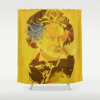 beethoven Shower Curtains featuring Beethoven by BIG Colours
