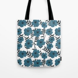 Blue Flowers with Banana Leaves Tote Bag