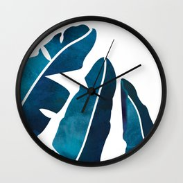 Indigo Banana Leaves Wall Clock
