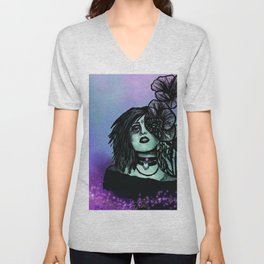 Azura | Portrait | Poppies | Galaxy | Stars | Space | Flowers | Woman Unisex V-Neck