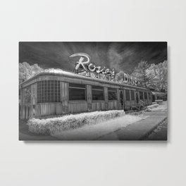 Rosie's Diner Photograph in Infrared Black & White by Rockford, Michigan Metal Print