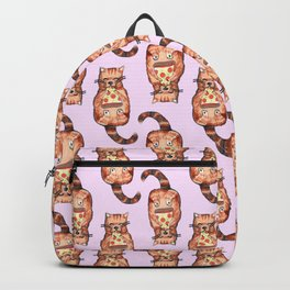 cat eating pizza pattern Backpack