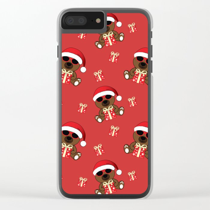 Cool Santa Bear with sunglasses and Christmas gifts pattern Clear iPhone Case