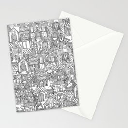 gingerbread town black white Stationery Cards