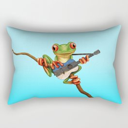 Tree Frog Playing Acoustic Guitar with Flag of Estonia Rectangular Pillow