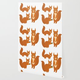 Set of funny red squirrels with fluffy tail with acorn  on white background Wallpaper