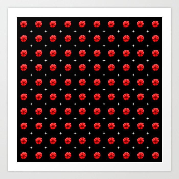 White stars red flowers grid Art Print