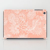 aelwen iPad Cases featuring Chic hand drawn floral pattern on pink blush by Girly Trend